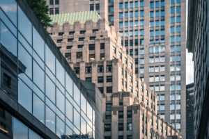 closeup on city buildings