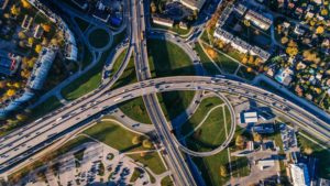 highway intersection from above